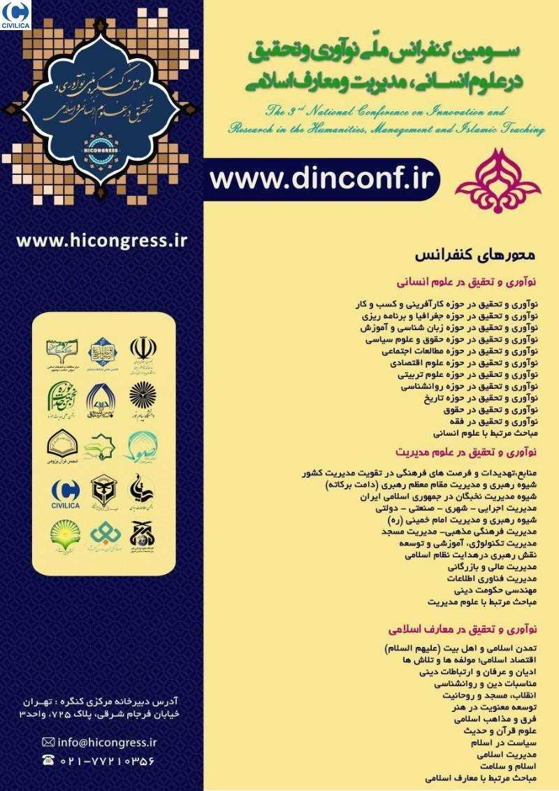 DINCONF03 poster - سومین کنفرانس ملی نوآوری و تحقیق در علوم انسانی و مطالعات فرهنگی اجتماعی