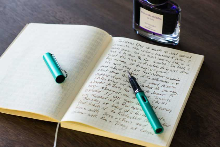 Writing with a fountain pen in a journal 1 846x565 - فهرست ژورنال ها