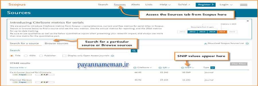 payannamema2n 2 - شناخت شاخص های SJR و SNIP جهت چاپ مقاله